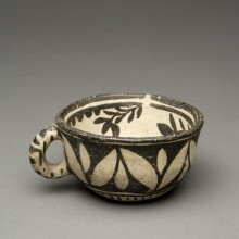 """""""The Leaning Pitcher"""": Perfect Cochiti Black-on-cream cup with Negative Botanical Designs"""