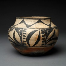 Small Kewa Polychrome Child's Olla with Child-like Painting