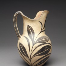 """The Leaning Pitcher"": Kewa Black-on-Cream Tall Pitcher with all over Slip and Bisected Leaves"