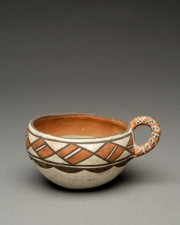 """""""The Leaning Pitcher"""": Isleta Polychrome Cup with Encircling Diamonds"""
