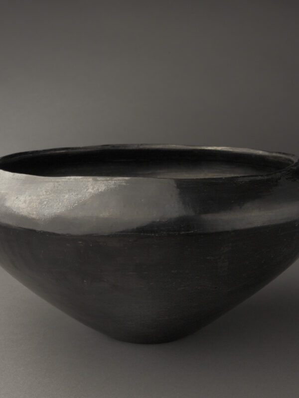 Small San Ildefonso Polished Black Serving Bowl with Gunmetal Interior
