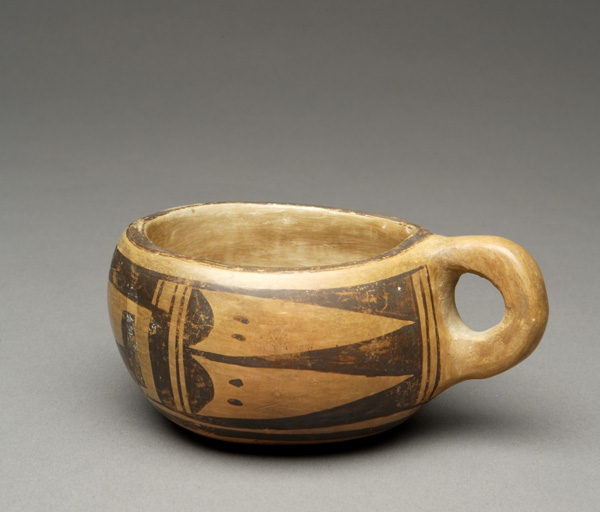 """The Leaning Pitcher"": Hopi Cup with Golden Orange Patina,"