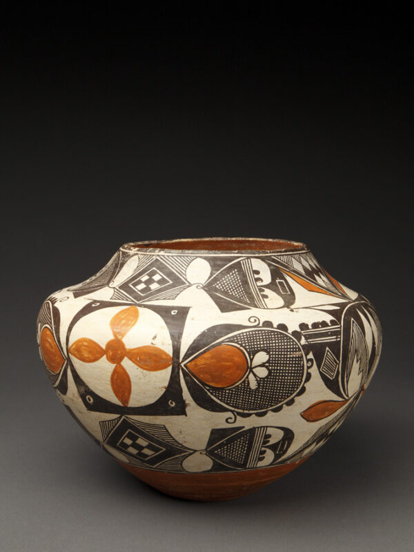 Small Acoma Polychrome Small Jar with Cross Hatched Paddle Designs
