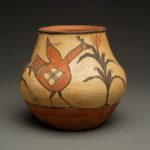 Zia Polychrome Small Pueblo Indian Pottery Jar with Nibbling Birds
