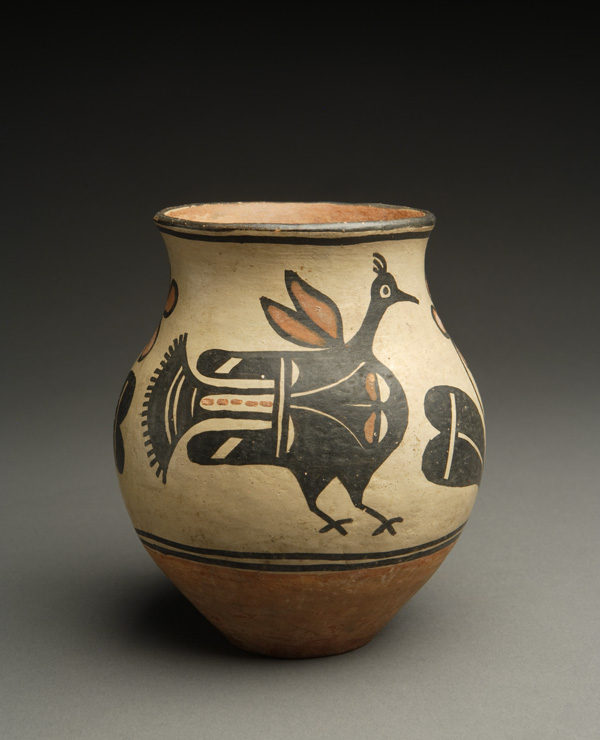 Kewa (Santo Domingo) Polychrome Small Jar with Exquisite Bird