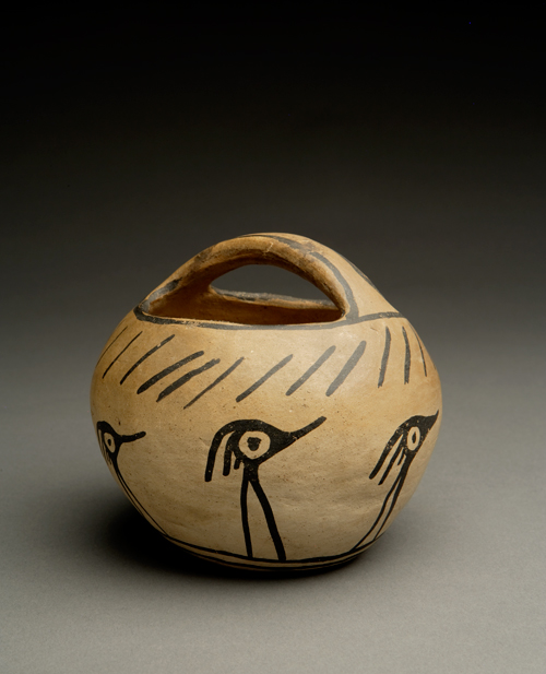 Kewa (Santo Domingo) Pottery Basket with Funky Birds